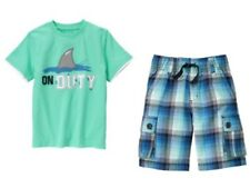 Gymboree Shark Patrol On Duty Tee Shirt Plaid Cargo Shorts Set Boys 4 5 NEW NWT