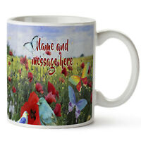 Personalised Mug WILD FLOWER Pretty Ceramic Cup Birthday Mothers Day Gift SH025