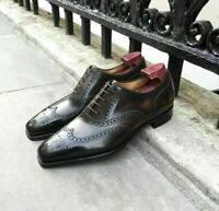 Handmade Brown Shaded Wingtip Leather Lace up Brogue Dress Shoes for Men's