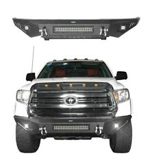 Fit Toyota Tundra Pickup 2014-2019 Textured Black FRONT BUMPER w/ Led Lights