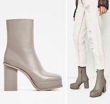 BNWT ZARA Grey Leather Ankle Boots With Lined Platform UK 5/EU 38 Ref 5112/101