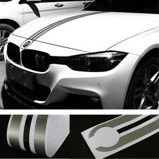 Car Engine Hood Decal Stripes Silver Gray+Black Styling Decor Vinyl Waterproof