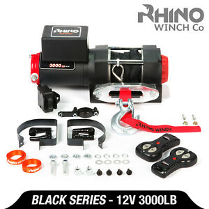 12v Electric Winch - 3000lb Dyneema Synthetic Rope - ATV ,Off Road ~ RHINO BLACK