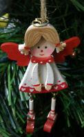 Addobbo natalizio per albero natale in legno angioletto bianco decorazione
