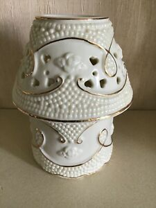"""SMALL CERAMIC TEA LIGHT HOLDER / LAMP WITH A WHITE AND GOLD FINISH 5 1/4"""" TALL"""