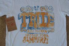 TRUE RELIGION S/S T-BIRD WORLD TOUR T-Shirt M NWT$94 Logo's-White-SUPER SOFT!