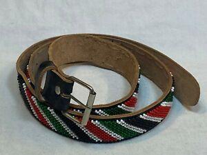 "Leather Belt XL Large Red White Green Black Mens Beaded Handmade Africa 48"" Long"