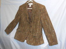 Women's Jones of New York Brown Tweed Blazer Jacket