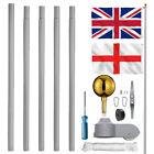 20ft Flagpole Aluminium Flag Pole With 2 Flags + Rope