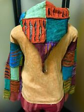 Medieval Hood Hippie Boho Gypsy Razor Cut Patchwork Jacket Hoodie Size Small