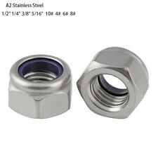 "UNC Stainless Hex Nylon Insert Lock Nut Self–locking Nylock Locknut 1/2""-5/16"""