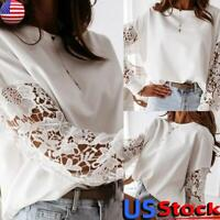 US Women Lace Long Sleeve Hollow T-Shirt Tops Ladies Casual Knitted Loose Blouse