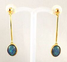 Large Triplet Opal Drop Dangling Earrings Twice 18ct Gold Plated with Cert / Aus