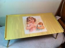 VTG Wood Bed/Dining Tray with foldable spindle legs and tip up tray Decoupage