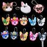 Unisex Cute Puppy Pug Cat Rabbit Key Cover Cap Keychain Key Ring PVC Key Case