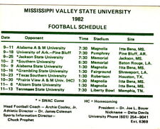 """1982 MISSISSIPPI VALLEY STATE UNIVERSITY FOOTBALL SCHEDULE CARD - 4-1/4"""" X 3-1/4"""
