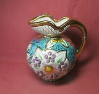 VINTAGE BELGIUM EMBOSSED ART POTTERY GOLD MUTLI COLORED FLORAL PITCHER