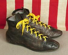 Vintage 1940s Black Leather Boxing Boots Athletic Shoes Flat Leather Soles Nice!