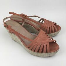 Aldo Kenaan Sandals Rope Jute Wedge Salmon Pink Suede Size UK 5.5 EU 39