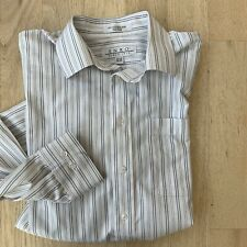 ENRO White Stripe Dress Shirt Mens Size 15.5 34-35 Cotton Non Iron LS Pocket EUC