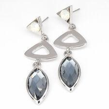 Triangle Shape 18K W GP Teardrops Dangle Earring Costume Jewelry CZ Sapphire 608