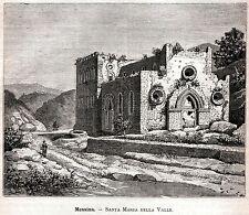 Messina:Chiesa Santa Maria della Valle.Sicilia.Stampa Antica + Passepartout.1892