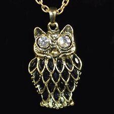Halskette Eule Strass /SCHWARZ Eulenkette Uhu Kauz lange Kette Owl Necklace