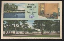 Postcard ROCKY MOUNT NC  Mosley's Shady Lake Motor Court Tri-view 1930's