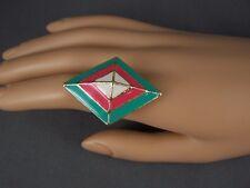 Turquoise Coral geometric diamond shape Gold tone big cocktail ring adjustable