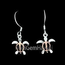 Hawaiian 925 Sterling Silver Dangle Hook Honu Sea Turtle Ear ring 2T Pink Small