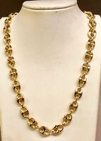 18k Solid Yellow Gold Men's Anchor Mariner Link Chain Necklace 11mm 205 grms 28""