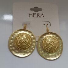 Western Boho Style Gold-tone metal Hammered textur Round Dangle Earrings W1-3/22