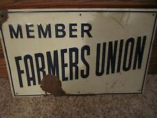 Vintage 1930's Member Farmers Union Tin Sign Rare!
