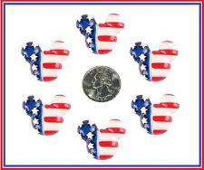 6 PC MICKEY PATRIOTIC USA STARS STRIPES FACE RESIN FLATBACK FLAT BACK RESINS