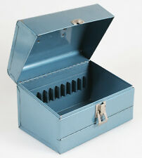 8MM MOVIE BLUE METAL STORAGE BOX HOLDS 12 REELS