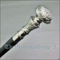 Vintage Silver Brass Knob Handle Antique Walking Cane Wooden Walking Stick Gift