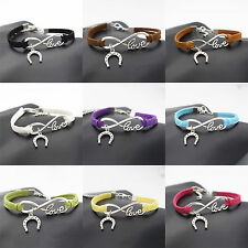 Women Valentine's Day LOVE Infinity Horseshoe Horse Hoof Charms Leather Bracelet
