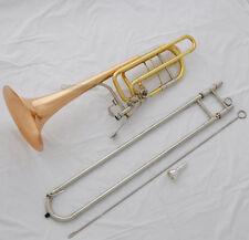 Professional Bass Trombone Bb/F/Eb&Bb/F/D/Gb Keys Rose Brass Bell New With Case