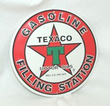 """Texaco Gasoline Filling Station Oils Sign embossed  metal wall decor 11.75"""""""