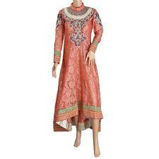 Sanskriti New Pink Long Top Net Mesh Fabric Woven Hand Beaded Tunic/Kurti