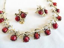 VINTAGE  CORO CRANBERRY MOONGLOW & RHINESTONE NECKLACE & EARRINGS SET