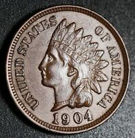 1904 INDIAN HEAD CENT - AU UNC - With REPUNCHED DATE *SNOW-19* RPD
