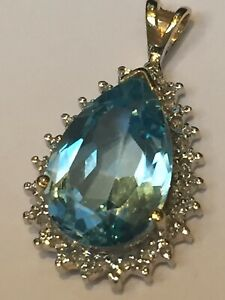 9ct Gold Large Faceted Natural Tear Drop Blue Topaz & Diamond Cluster Pendant