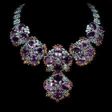 Oval 18x13mm Purple Amethyst Blue Zircon Sapphire 925 Sterling Silver Necklace