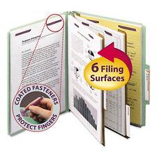 Smead Pressboard Classification Folders Tab Letter Six-Section Gray/Green 10/Box
