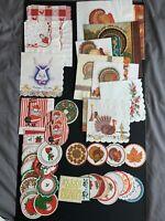 Lot of 60 vintage holiday coasters and napkins, Christmas, Thanksgiving, Santa