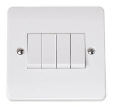 Click 4 Gang 10A 2 Way Light Switch Single Fits 1 Gang Single Back Box CMA9014