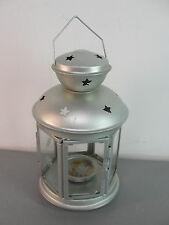🏮 IKEA ROTERA HANGING TEALIGHT CANDLE HOLDER SILVER LANTERN METAL STAR GLASS