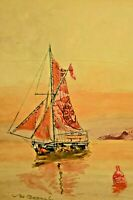 MABEL BARNSBEE Stamp Collage Sail Ship Boat Coastal Seascape Watercolor Painting