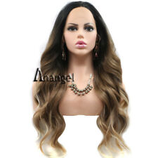 Anogol Synthetic Hair Blonde Lace Front Wig Ombre Brown Long Wavy Full Wigs